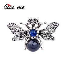 KISS ME Personalized Resin Rhinestone Bee Brooch Alloy Vintage Insect Brooches for Women Fashion Jewelry(China)