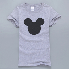 2017 New Summer Mouse Head Printed Women T-Shirt Kawaii Harajuku Style T-Shirt Female Tops Cotton High Quality T Shirts For Fans(China)