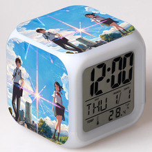 Your Name Anime Movie Juguetes Creative LED Clock Colorful Flash Touch Dark Light Manga Figma Toys For Girls