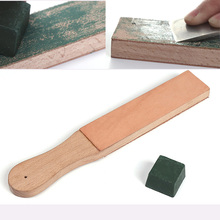 WUTA Wood Handle Leather Sharpening Strop Knife Razor Polishing Board with Polish Compound 2 Sided Made From Veg Tanned Cowhide(China)
