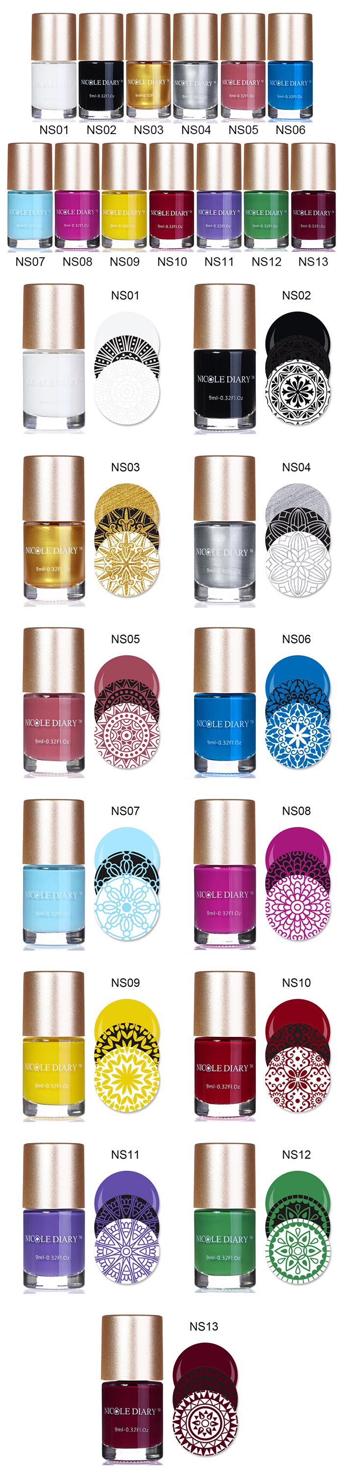 NICOLE DIARY 9ml Sweet Color Nail Art Stamping Polish Stamping Nail Lacquer Nail Art Varnish Polish 13 Colors