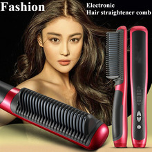 Hot Hair Straightener 29W Electronic 110/220V Ceramic Ionic Anion Digital Tourmaline Ceramic Flat Instant Magic Comb Hair Brush(Hong Kong)