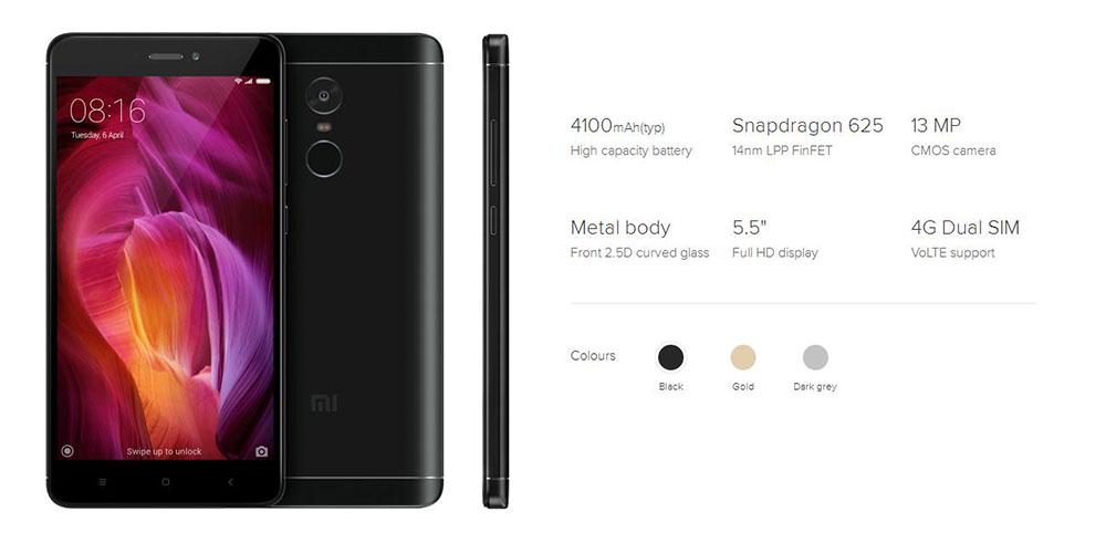 Global Version Xiaomi Redmi Note 4 Smartphone Snapdragon 625 Octa Core CPU 3GB RAM 32GB ROM 5.5 inch 1080p Display 13MP FCC CE