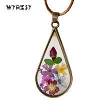 Buy Handmade Vintage Style Natural Dried Flower Long Necklaces Pendants Women Retro Girl Gift China's Wind Jewelry Leather Chain for $2.45 in AliExpress store