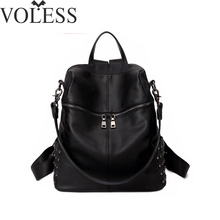 2016 New Korea style Women's Leather Rivet Backpacks Lady's Punk Sequins rucksack Female Doubles Bag Song Hye Kyo Same Backpack(China)
