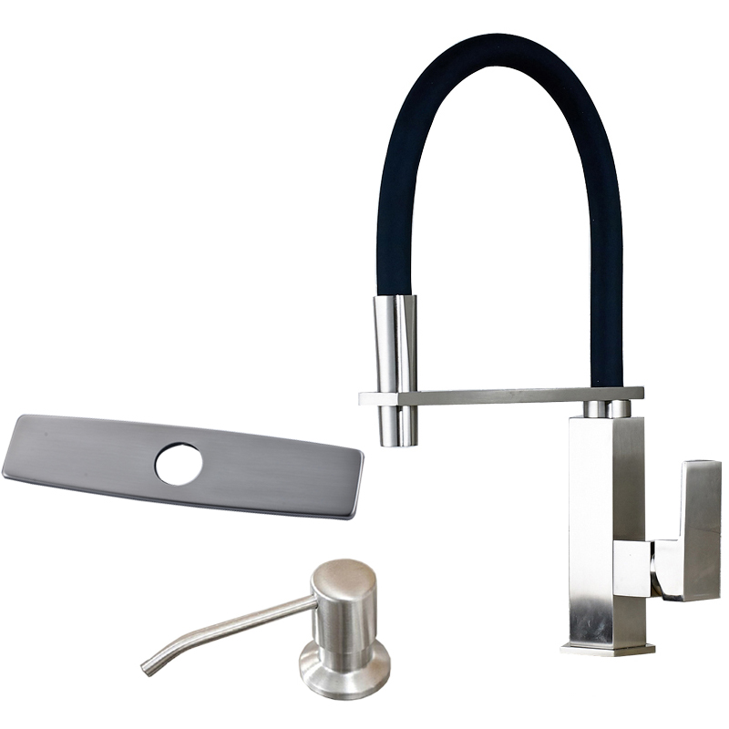 Deck Mounted Kitchen Sink Taps Brushed Nickel Kitchen Mixer Taps Stainless Steel &amp; Plastic Soap Dispenser<br><br>Aliexpress