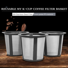 3pcBaskets+1pcPlastic Stent Metal Filter Cloth Refillable Baskets My K-cup Replacement Reusable Coffee Filter Baskets For Keurig