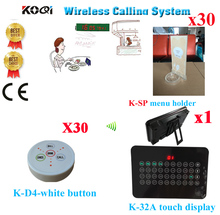Wireless Buzzer Calling System Service Pager 433.92MHZ Restaurant Full Equipment(1 display+30 call button+30 menu holder)