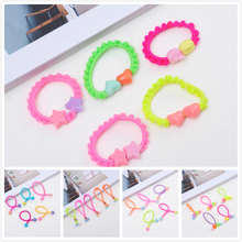 Fashion Girl Hair Accessories Bow 20Pcs Elastic Hair Bands Flower Ring Bead Candy Scrunchy Ring Jewelry Hoop Gum Gift Accessory
