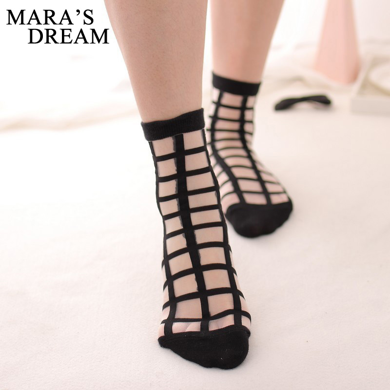 Image Mara s Dream 2 Pairs lot Women Summer Novelty Transparent grid socks Glass Crystal Silk Cool Mesh Knit Sheer soks