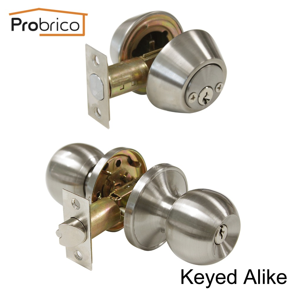 Probrico Round Stainless Steel Keyed Alike Entrance Door Lock With Two Side Deadbolt Satin Nickel Door Handle Knob DL607ET-102SN<br>