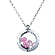 Trendy Silver Color Living Memory Glass Round Floating Charms Locket Long Pendant For Women Wedding Party Fashion Jewelry Gift