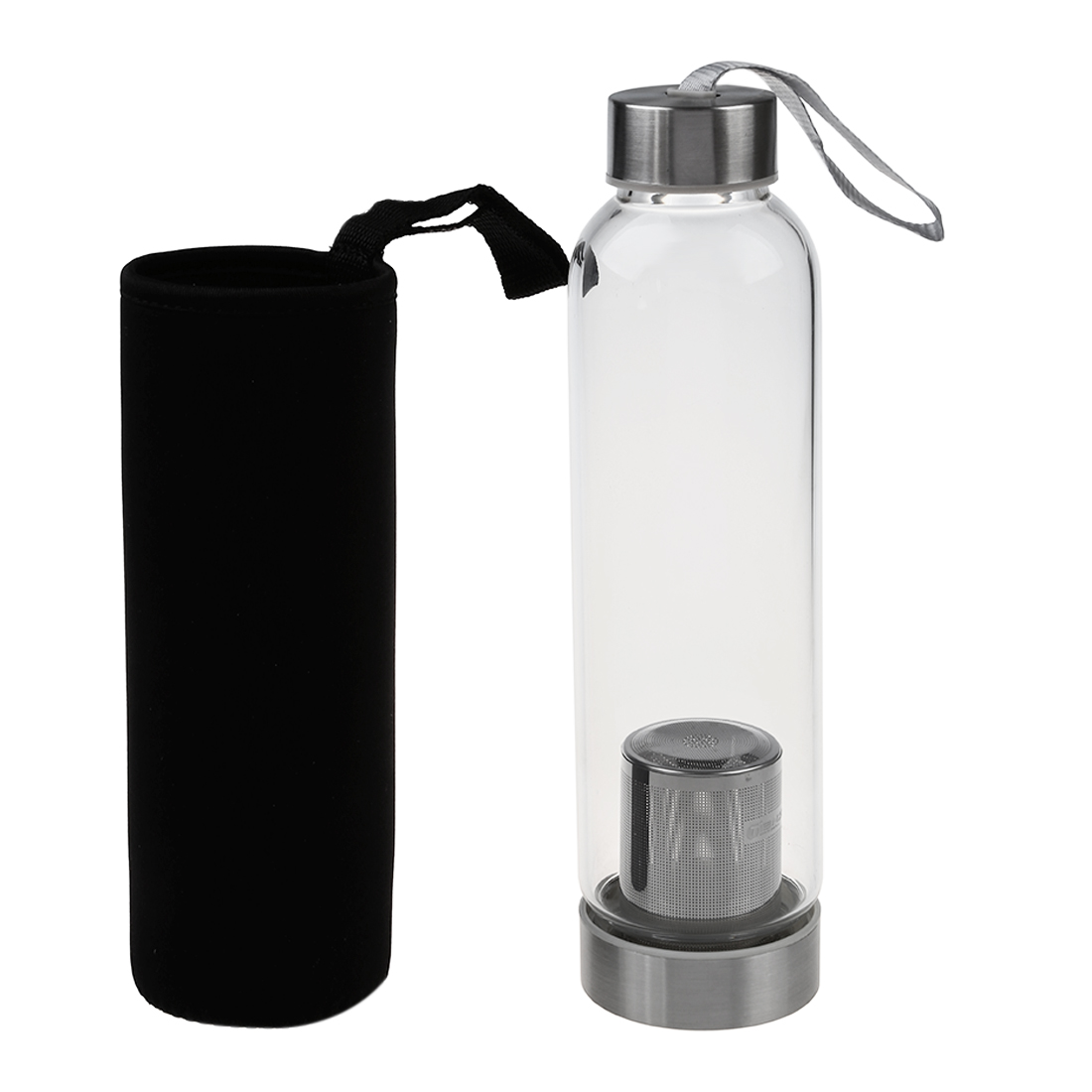 HOT-Glass Sport Water Bottle with Tea Filter Infuser Protective Bag 550ml 2