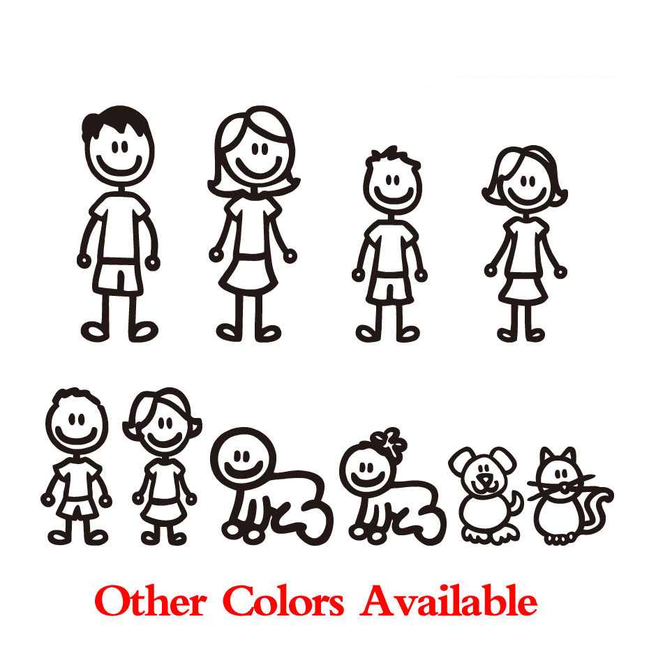 CUSTOM 9 STICK FIGURE PEOPLE FAMILY with NAME Vinyl Car Auto Window Decal Craft