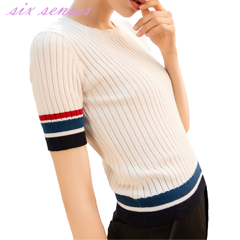 2017 new fashion women sweater spring summer thin casual striped knitwear short o neck pullovers high quality sweater top,HH0148