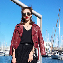 2017 Autumn New Fashion Women Clean Color Short Motorbike Leather Coat(China)