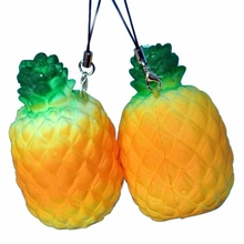 1 Piece 7CM Vividly Pineapple Foam Mobile Phone Straps Release Stress Squishy Key Chain Pendant Strap Slow Raising Toys P30(China)