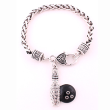 Bowling Pin Ball Black Clear Crystal Fashion Silver Chain Bracelet Jewelry(China)