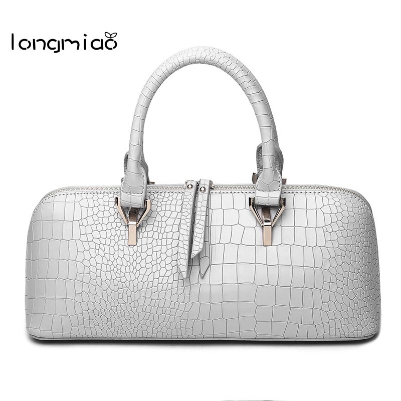 longmiao Luxury PU Leather Women Shoulder Bags for Lady Elegant  Crocodile Pattern large Capacity Boston Tote Handbags Bolsas<br>