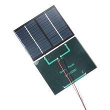 BUHESHUI Polycrystalline Silicon Solar Panel Small Solar Panels 1.5W 12V With Black/Red Wire Solar Cells w/ Cable Education Kits