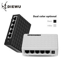 DIEWU 5 Ports Ethernet Switch board Network Cable Distributor Shunt Plastic Shell 1000 Mbps LED High Quality and Hot Sale