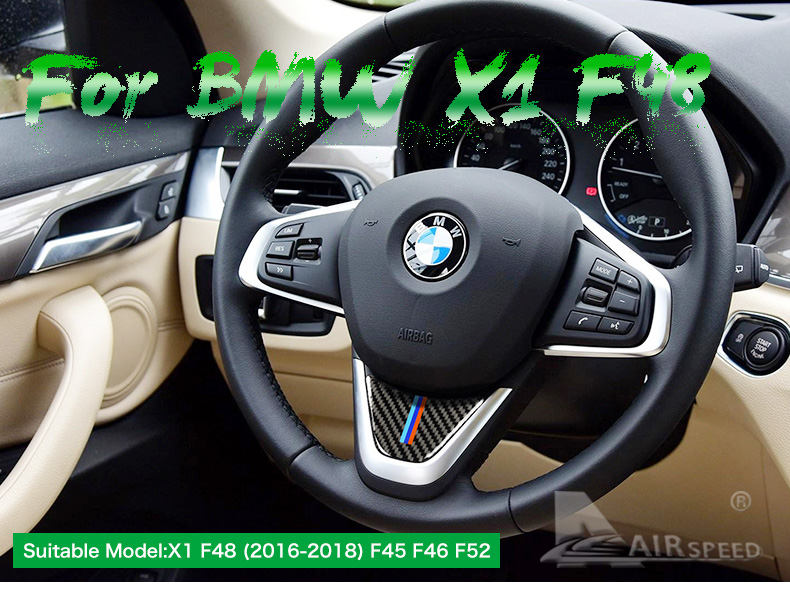 for BMW X1 F48 2016 Carbon Fiber Car Steering Wheel Stickers M Sport for 1 Series F52 F45 F46 Accessories Car Styling (1)