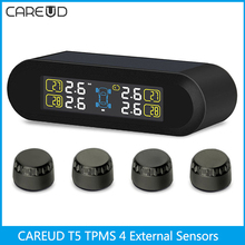 CAREUD T5 Solar Auto Car TPMS Wireless Tire Pressure Temperature Monitoring System Intelligent TPMS 4 External Sensors(China)