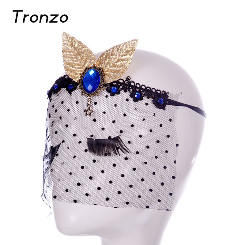 Tronzo Masquerade Masks Sapphire Gold Leaf Vintage Wave Point Party Veil Lace Sexy Mask Wedding Party Decoration Free Shipping(China (Mainland))