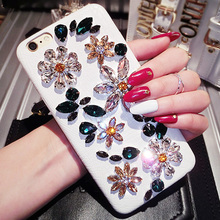 NEW! DG Diamond Crystal Rhinestone Phone Cover Case For iPhone 7 7 Plus 6 6s Plus Bling Handmade Italy Flowers Case Capa Fundas