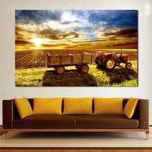 WANG ART Truck In Village Oil Painting Canvas Art Paintings For Living Room Wall No Frame Decorative Pictures