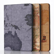High Quality Retro World Map Case Stand Cover for Apple ipad air 2 iPad 6 Tablet PC Case