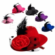 Fashion Lady's Mini Hat Hair Clip Feather Rose Top Cap Lace fascinator Costume Accessory 6Colors