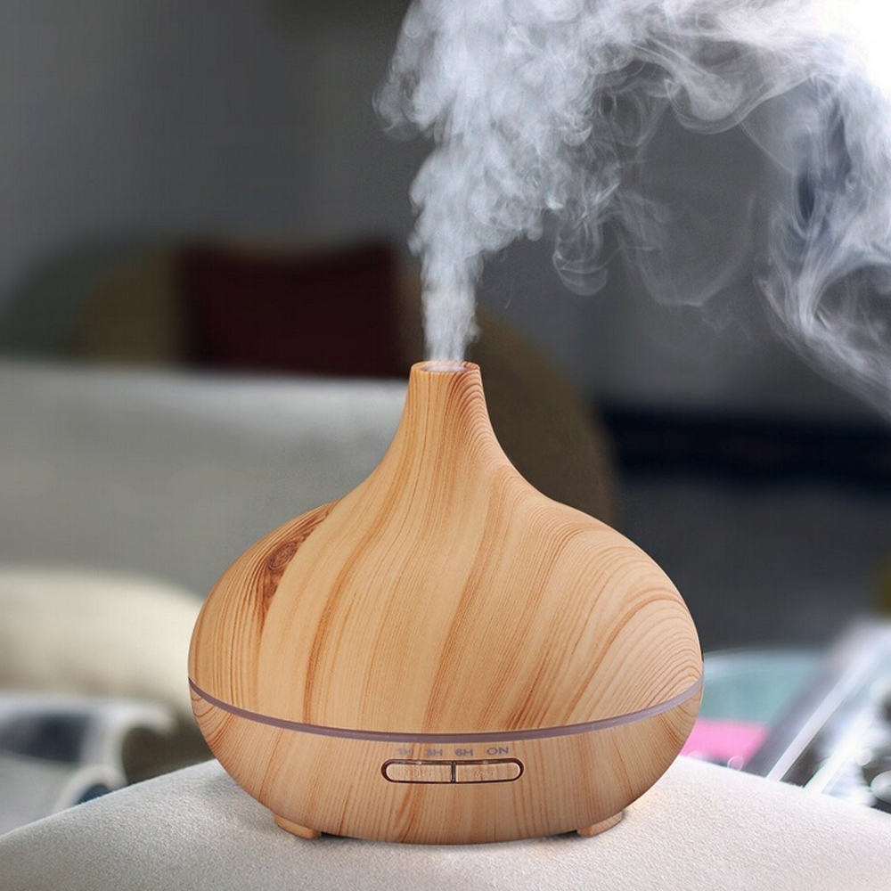300ml Essential Oil Diffuser Wood Grain Ultrasonic Aroma Cool Air Humidifier Home Aromatherapy Mist Maker Changing Color<br>