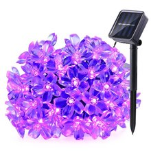 New 4 sets/lot Solar Fairy String Lights 21ft 50 LED Purple Blossom Decorative Gardens, Lawn, Christmas Trees, Weddings, Parties(China)