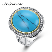 Round Stone Engagement Ring for Women Vintage Turquoise Jewelry Silver Color Wide Ring