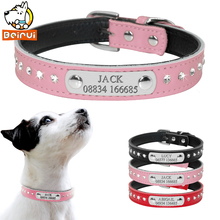 Custom Leather Dog Collars Adjustable Padded Rhinestone Personalized Dogs ID Collar Free Engraving For Small Medium Dogs Cats(China)