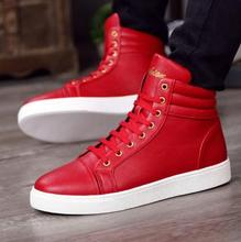 Buy New Fashion High Top Casual Shoes Men PU Leather Lace Red White Black Color Mens Casual Shoes Men High Top Shoes Retail for $28.22 in AliExpress store