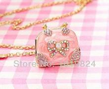 100% real capacity new arrive Ms gift Metal Crystal Jewellery Pink Lady's Handbag usb flash drives  8GB 16GB S232 BB