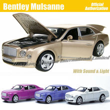 1:32 Scale Diecast Alloy Metal Car Model For Bentley Mulsanne Collection Model Powerful Pull Back Toys Car With Sound&Light(China)