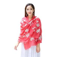 women Fashion embroidered scarf Cotton Linen girl neckerchief Autumn Winter National Embroidery Sarong Wrap Shawl Style Scarves
