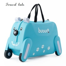"Travel tale creative lovely small 19"" PP Rolling Luggage Spinner brand Travel children's Suitcase dog shape Can sit and ride(China)"