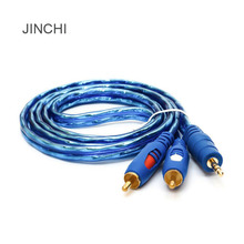 JINCHI audio line a minute two 3.5 mm to 2 rca audio line Double lotus gold-plated audio line AV line transparent blue(China)