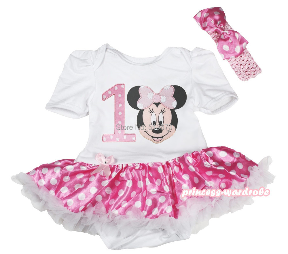 Birthday Pink White Dot 1ST Minnie Bodysuit Girl Skirt Baby Dress Set NB-18Month MAJSA0534<br><br>Aliexpress