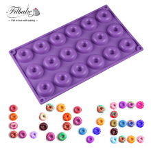 FILBAKE 18 Mini Donuts Round Shaped Dessert Silicone Mold Chocolate Biscuit Cake Cupcake Molds Doughnut Mould