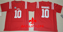 2017  BAICLOTHINGOhio  Ole Miss Rebels Manning #10  College Football Jersey - Red Size S,M,L,XL