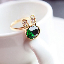 1Pcs New Women Adjustable Ring Green Alloy Rhinestone Rabbit Rings For Women Fashion Jewelry Gifts