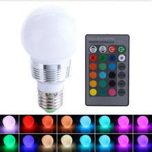 1pc E27 LED RGB Bulb Lamp AC110V 220V 3W Spot Light Dimmable Changeable Lamp Multiple Colour with Remote Controller Night Lamp(China)
