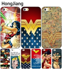 HongJiang new wonder women cell phone Cover case for iphone 6 4 4s 5 5s SE 5c 6 6s 7 8 plus case for iphone 7 X(China)