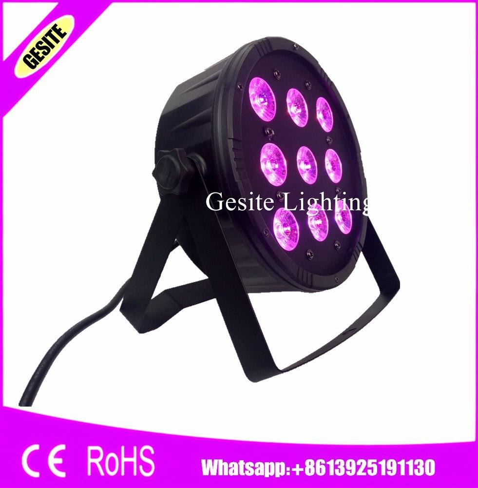 12pcs/lot LED Par 9x12W 4in1 RGBW LED Stage Light LED Flat SlimPar Quad Can With DMX512 Flat DJ<br>
