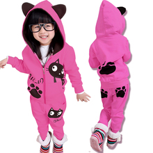 2017 Spring Fall Children's Clothing Set Girls Cartoon Cat Hooded Sweatshirt + Pants 2 Pcs Kids Casual Sport Suit Tracksuit G842(China)